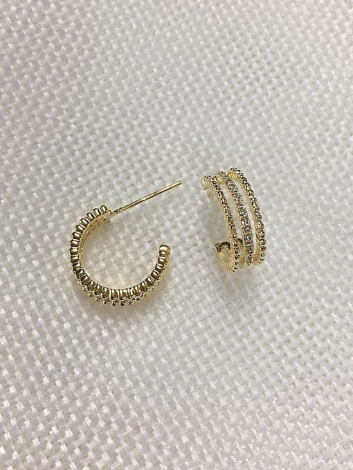 KEVIN Brass Cubic Zirconia Cone Dainty Stud Earring