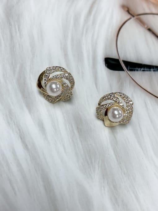 KEVIN Brass Cubic Zirconia Oval Trend Stud Earring