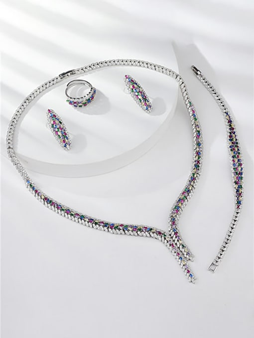 KEVIN Statement Irregular Brass Cubic Zirconia Ring Earring Bangle And Necklace Set