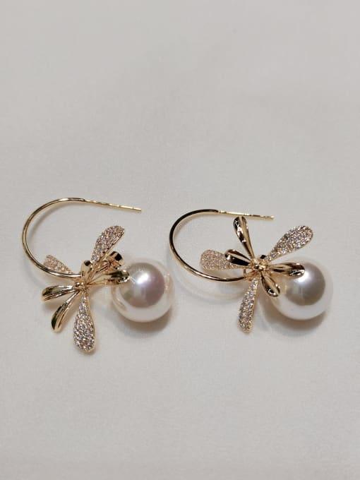 KEVIN Brass Imitation Pearl Leaf Trend Hook Earring 0