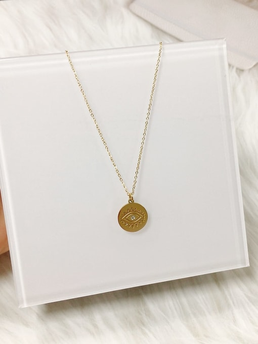 KEVIN Stainless steel Rhinestone Evil Eye Dainty Initials Necklace