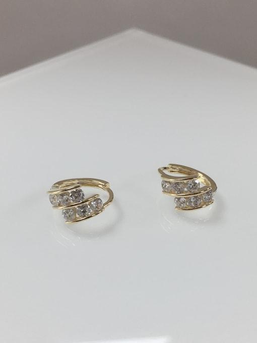 KEVIN Brass Cubic Zirconia Irregular Dainty Huggie Earring