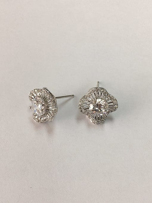 KEVIN Brass Cubic Zirconia Clover Dainty Stud Earring 0