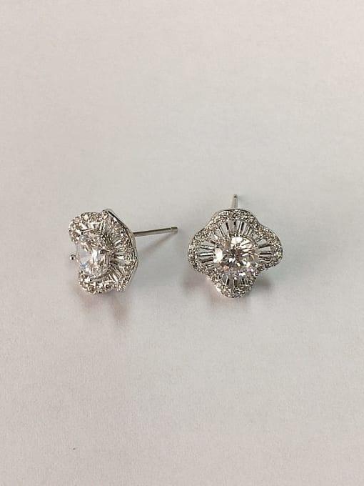 KEVIN Brass Cubic Zirconia Clover Dainty Stud Earring