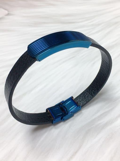 HE-IN Stainless steel Leather Irregular Trend Bracelet 2