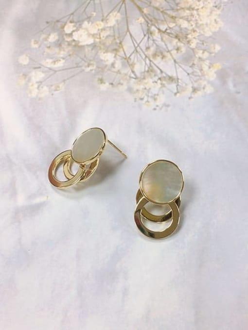 KEVIN Brass Shell Cone Minimalist Stud Earring 0