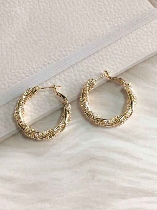 KEVIN Brass Cubic Zirconia Round Trend Hoop Earring