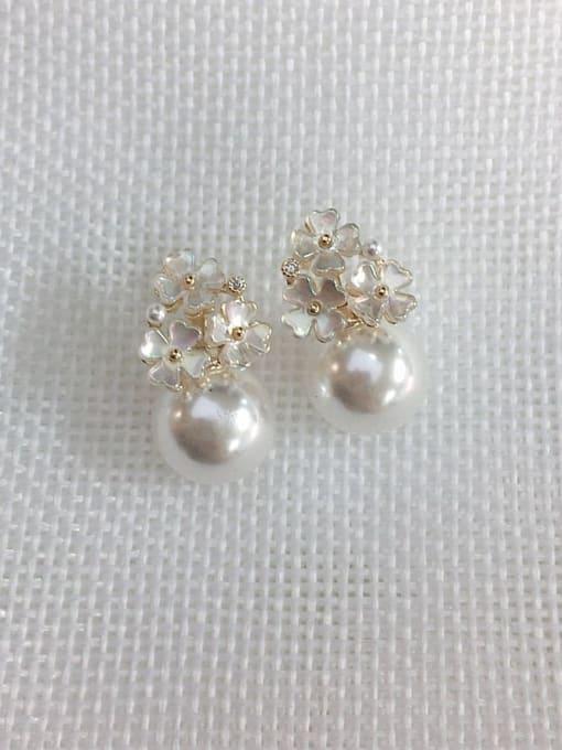 KEVIN Brass Imitation Pearl Flower Trend Stud Earring 1