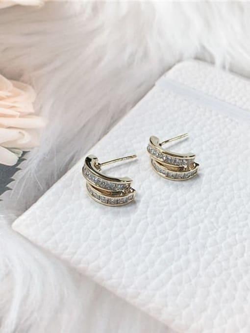 Gold Brass Cubic Zirconia Irregular Minimalist Stud Earring