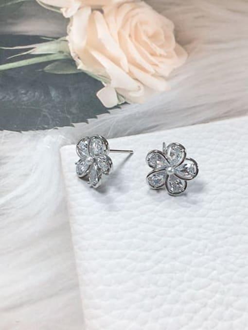 Silver Brass Cubic Zirconia Flower Minimalist Stud Earring