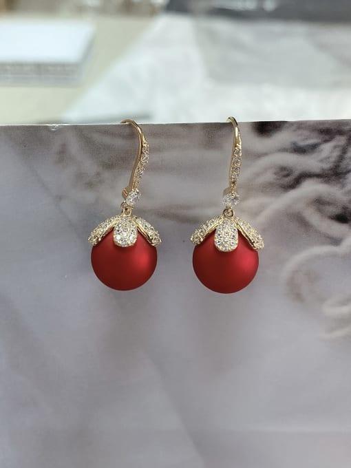 KEVIN Brass Imitation Pearl Flower Trend Hook Earring 0