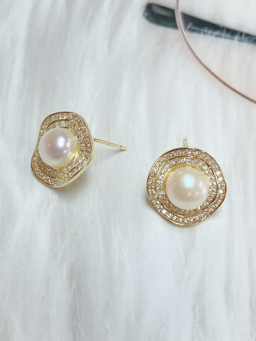 KEVIN Brass Imitation Pearl Irregular Minimalist Stud Earring