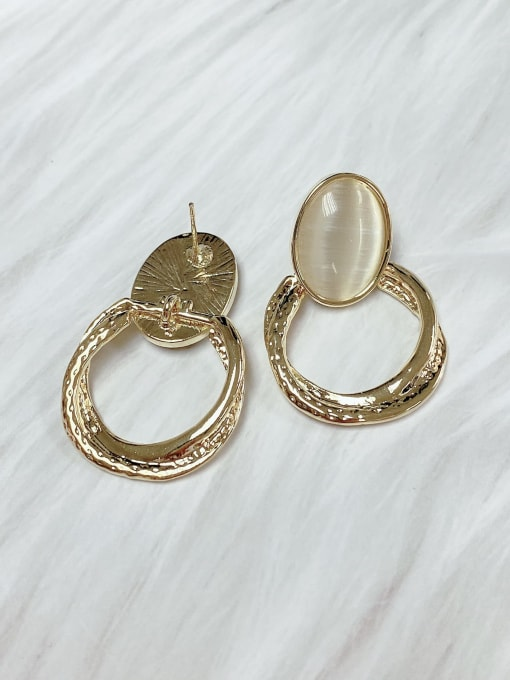 KEVIN Zinc Alloy Cats Eye Oval Classic Drop Earring 1