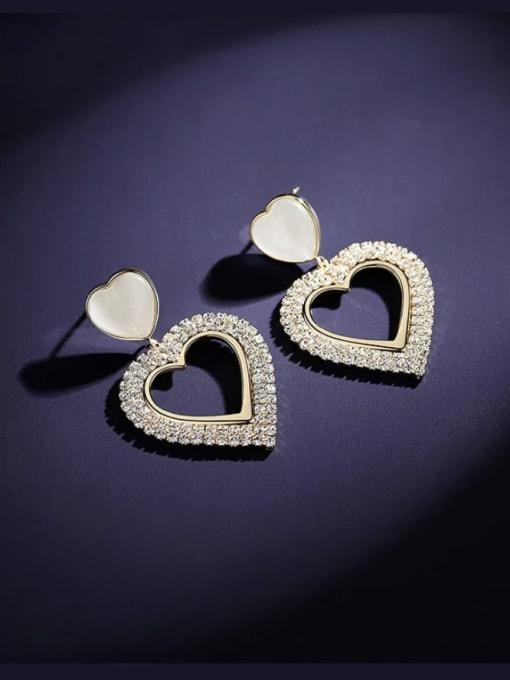 KEVIN Brass Cubic Zirconia Heart Trend Drop Earring 2
