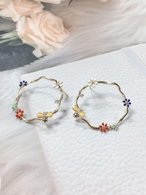 KEVIN Zinc Alloy Rhinestone Enamel Rectangle Trend Stud Earring 1