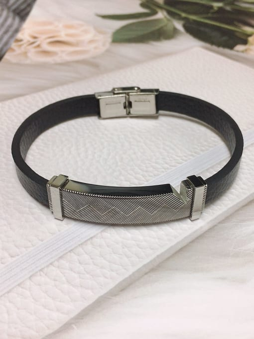 HE-IN Stainless steel Leather Rectangle Trend Bracelet 3