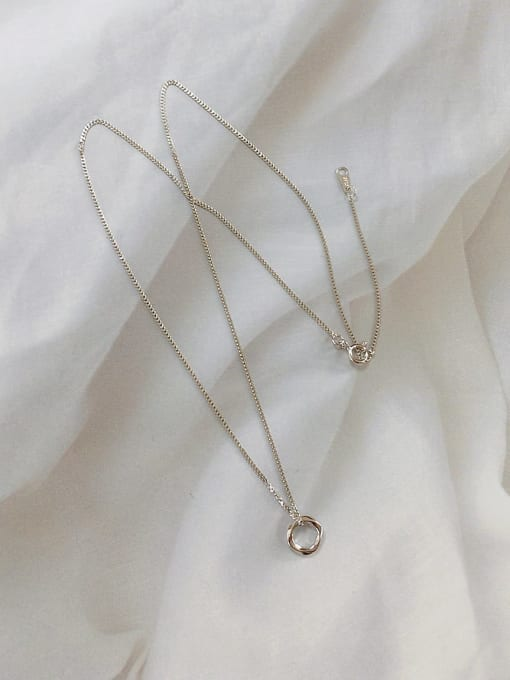 KEVIN 925 Sterling Silver Round Dainty Link Necklace