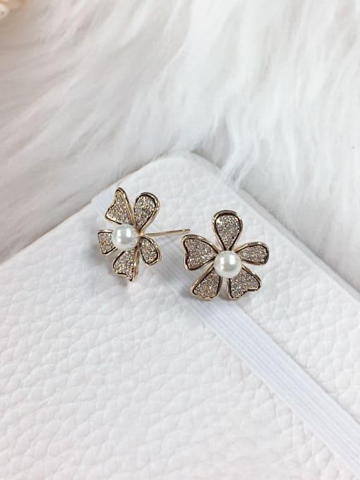 KEVIN Brass Imitation Pearl Flower Trend Stud Earring 0
