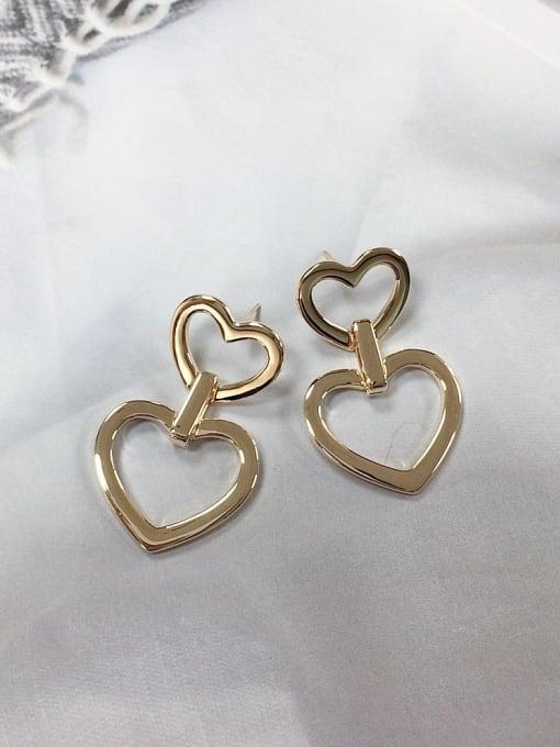 KEVIN Zinc Alloy Heart Trend Drop Earring 0