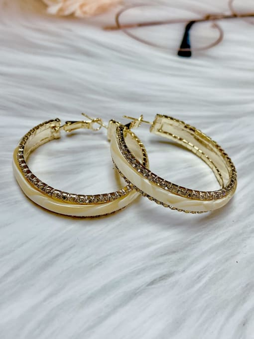 KEVIN Brass Rhinestone Acrylic Round Trend Hoop Earring