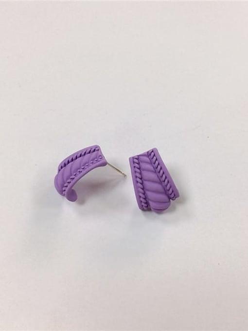 Purple Zinc Alloy Enamel Irregular Minimalist Stud Earring
