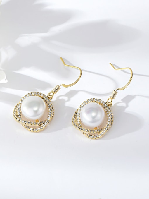 KEVIN Brass Imitation Pearl Rosary Trend Hook Earring 0