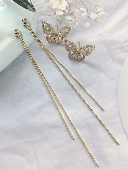 KEVIN Brass Cubic Zirconia Butterfly Trend Threader Earring 0