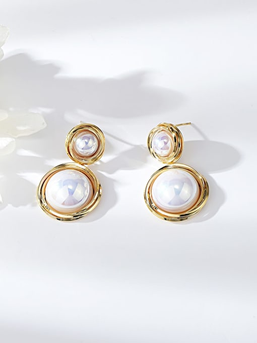 KEVIN Zinc Alloy Imitation Pearl Round Trend Drop Earring 0