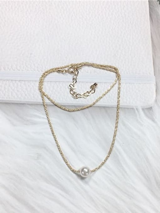 KEVIN Brass Imitation Pearl Ball Trend Necklace