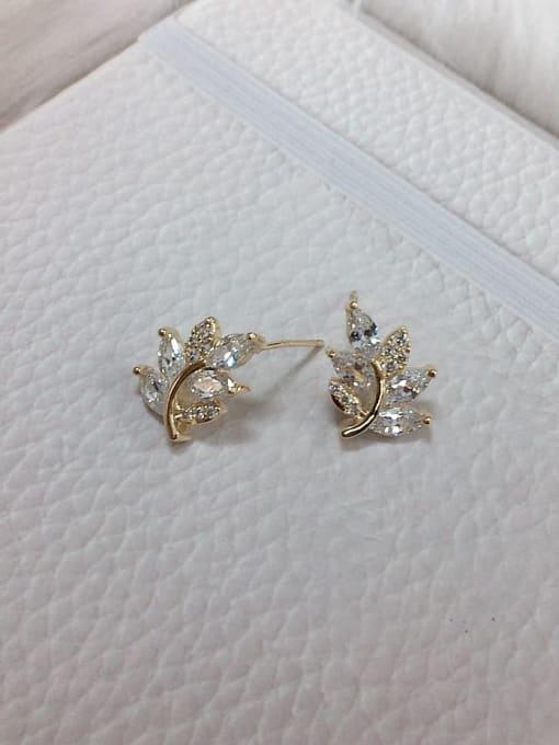 KEVIN Brass Cubic Zirconia Leaf Dainty Stud Earring