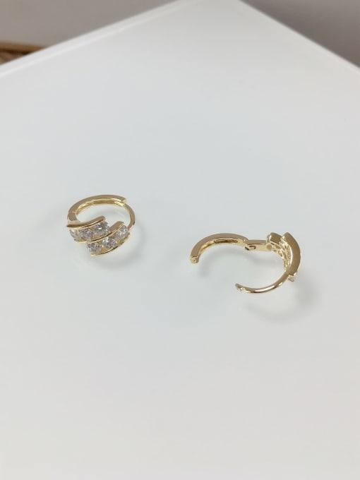 KEVIN Brass Cubic Zirconia Irregular Dainty Huggie Earring 1