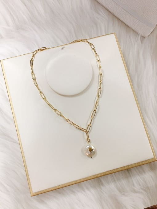 KEVIN Stainless steel Imitation Pearl Irregular Trend Link Necklace 1