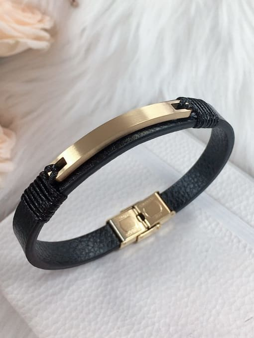HE-IN Stainless steel Leather Rectangle Trend Bracelet 0