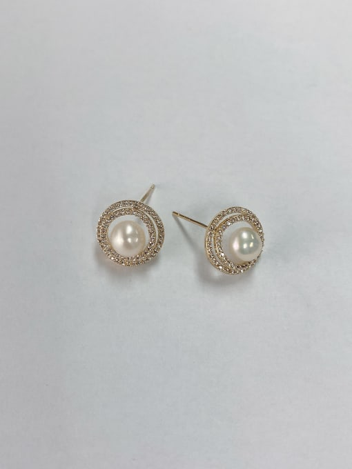KEVIN Brass Imitation Pearl Cone Trend Stud Earring 0
