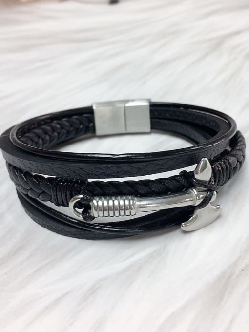 Silver Stainless steel Leather Religious Trend Bracelet