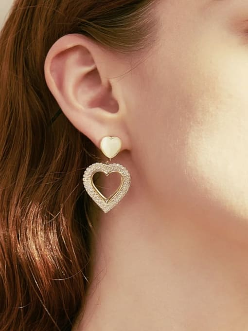 KEVIN Brass Cubic Zirconia Heart Trend Drop Earring 1