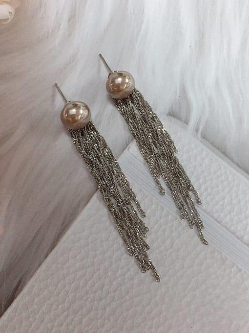 coffee Brass Imitation Pearl Tassel Trend Threader Earring
