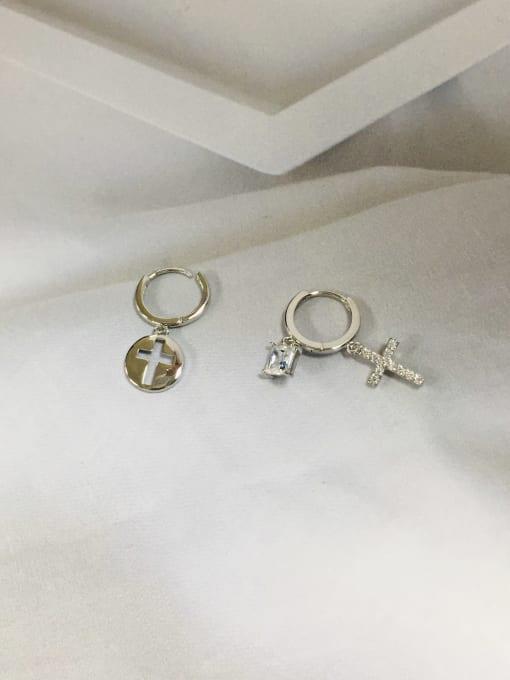 Silver Brass Cubic Zirconia Cross Dainty Huggie Earring