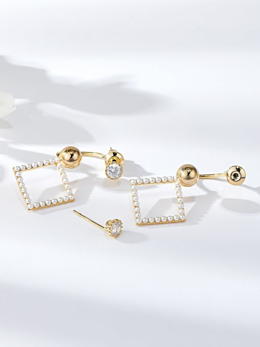 KEVIN Brass Imitation Pearl Irregular Trend Drop Earring
