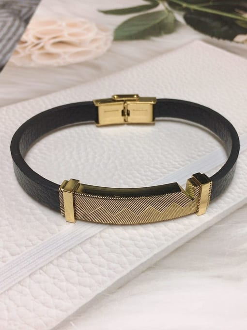 HE-IN Stainless steel Leather Rectangle Trend Bracelet 4