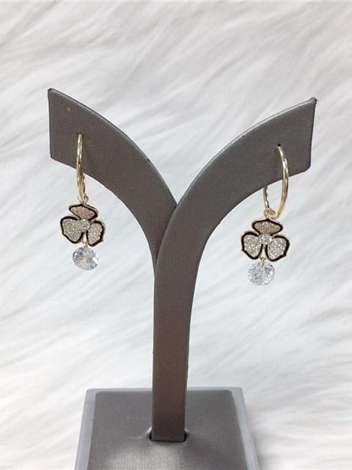 KEVIN Brass Cubic Zirconia Flower Trend Hook Earring
