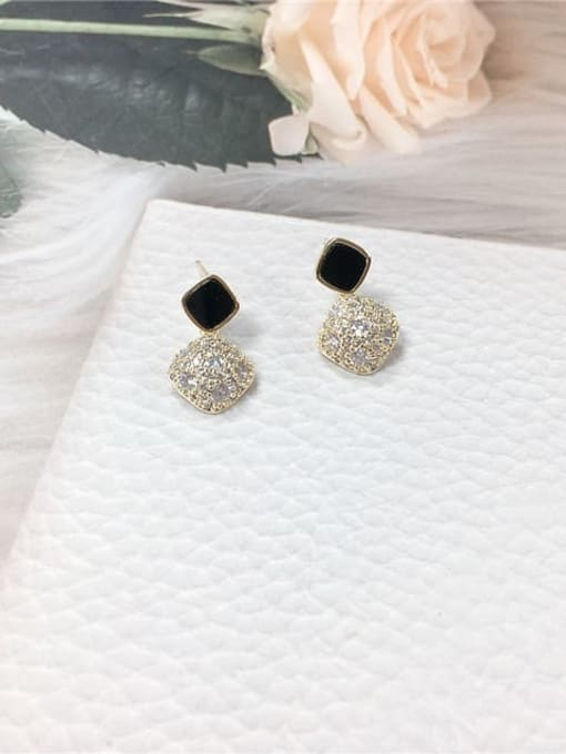 KEVIN Brass Cubic Zirconia Acrylic Irregular Dainty Stud Earring 0