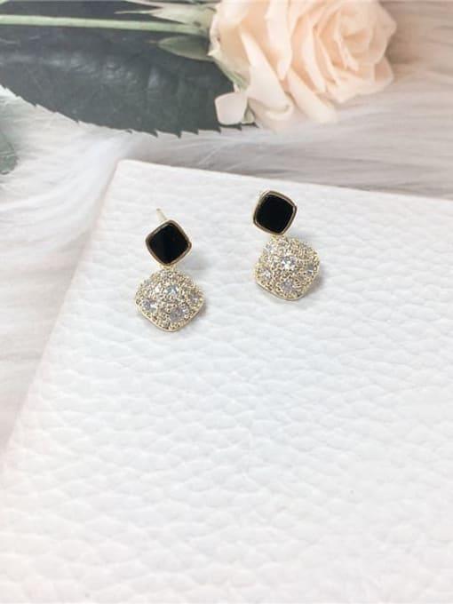 KEVIN Brass Cubic Zirconia Acrylic Irregular Dainty Stud Earring