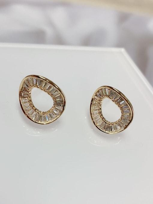 KEVIN Brass Cubic Zirconia Geometric Minimalist Stud Earring
