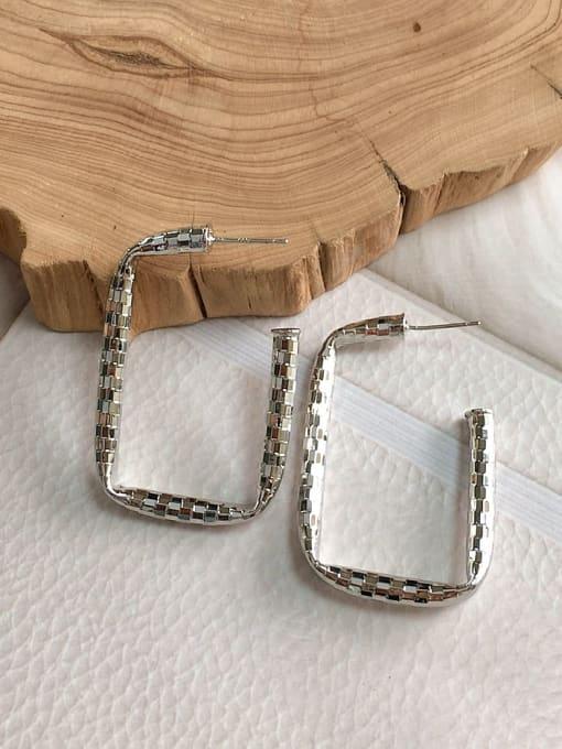 Silver Brass Rectangle Trend Drop Earring