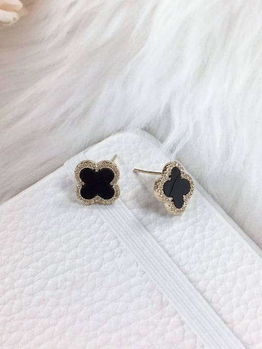KEVIN Brass Cubic Zirconia Acrylic Clover Dainty Stud Earring 0