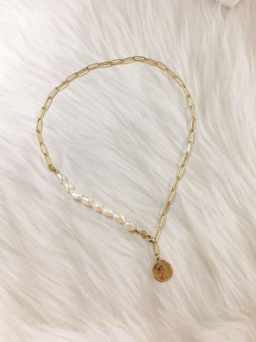 KEVIN Stainless steel Imitation Pearl Skull Trend Link Necklace