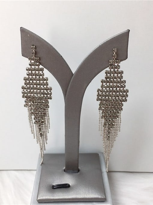 KEVIN Zinc Alloy Rhinestone Tassel Trend Threader Earring 0
