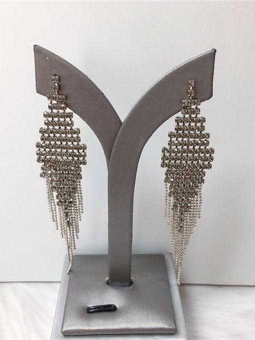 KEVIN Zinc Alloy Rhinestone Tassel Trend Threader Earring