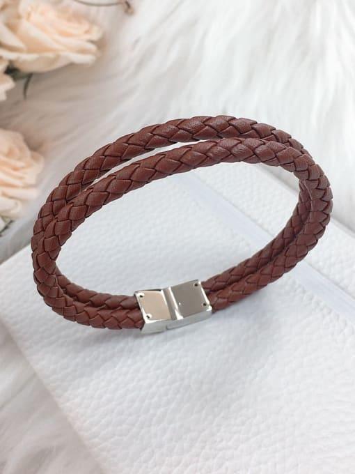HE-IN Stainless steel Leather Irregular Trend Woven Bracelet 0